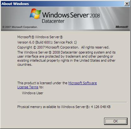 winver Windows Server 2008 SP1